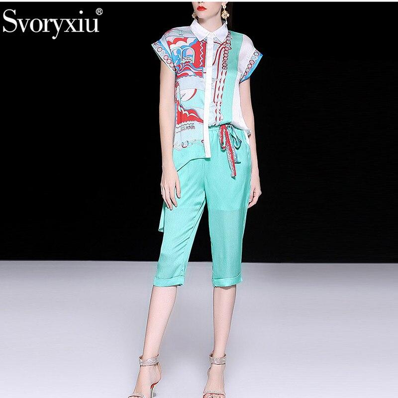 Svoryxiu 디자이너 브랜드 여름 두 조각 세트 패션 반팔 인쇄 비대칭 블라우스 + 3/4 바지 캐주얼 파티 바지 세트-에서여성 세트부터 여성 의류 의  그룹 1