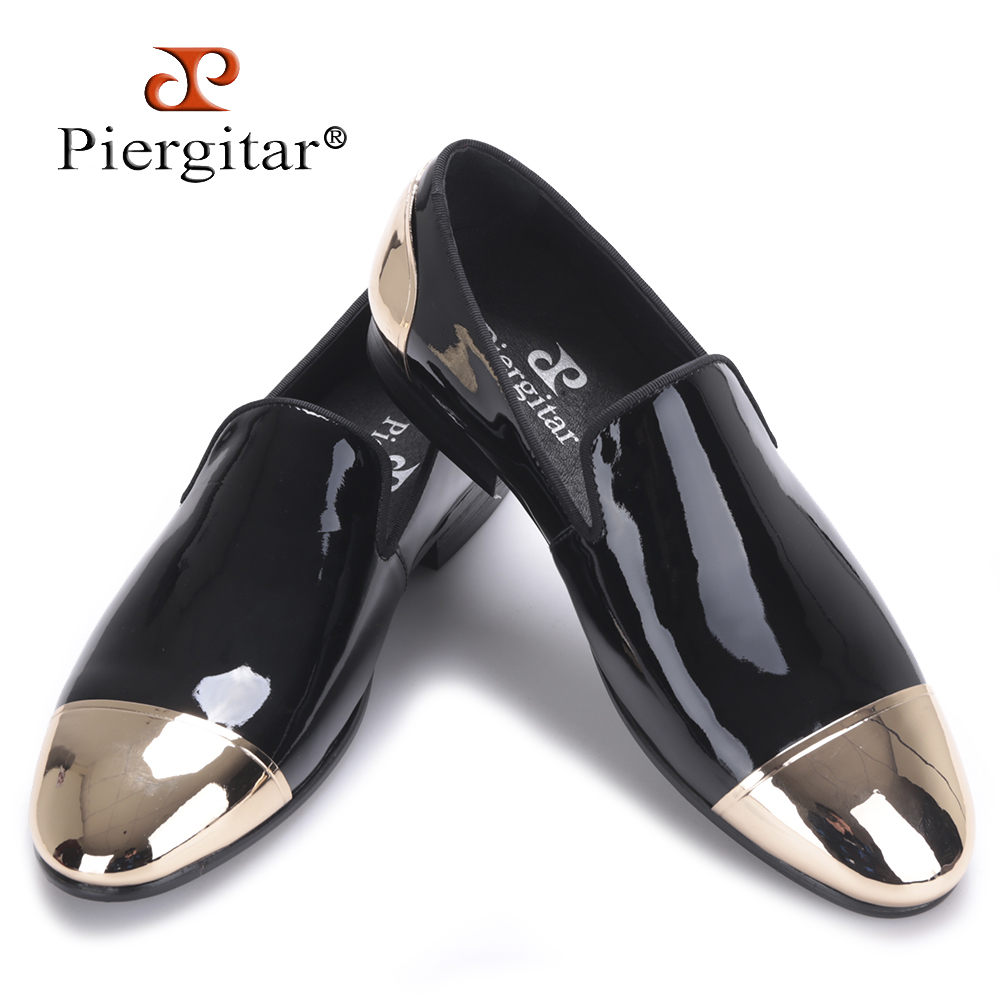 Piergitar 2017 new Black and White Patent Leather men Handmade shoes Party and Wedding men dress shoes Plus size men's loafers piergitar 2016 new india handmade luxurious embroidery men velvet shoes men dress shoes banquet and prom male plus size loafers