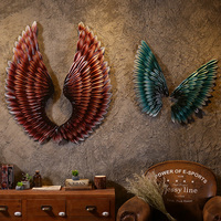 Creative Home Wall Decor Abstract Retro Wing Sculpture Decor Figurine Decorative Metal Wings Statue TV Background