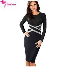 Dear Lover Spring 2019 Women Office Dress Patchwork Black Contrast Waist Long Sleeve Sheath Pencil Midi Dress Vestidos LC610895