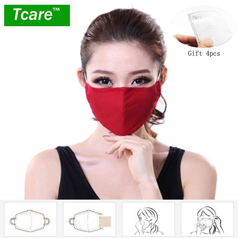 * Tcare мода памук PM2.5 против мъгла смог устата прах маска + * активен въглен филтърна хартия * бактерии доказателство грип маска