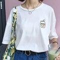 Coreano mulheres verão casual campus vento bonito dos desenhos animados garrafa de Leite De banana bordado simples solto curto-manga comprida T-shirt para meninas