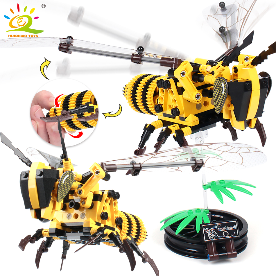 236 pcs Simulado inseto DIY Abelha Vespa modelo Blocos de Construção Compatível Legoingly Técnica conjunto de Tijolos Brinquedos Educativos para Crianças