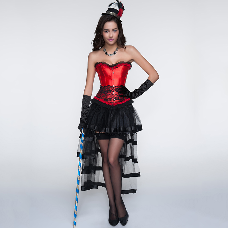 6c87f91098c Red And Black Gothic Burlesque Corset Dress With Skirt Corselete Feminino Espartilhos  E Corpetes Corsets And Bustiers Steampunk