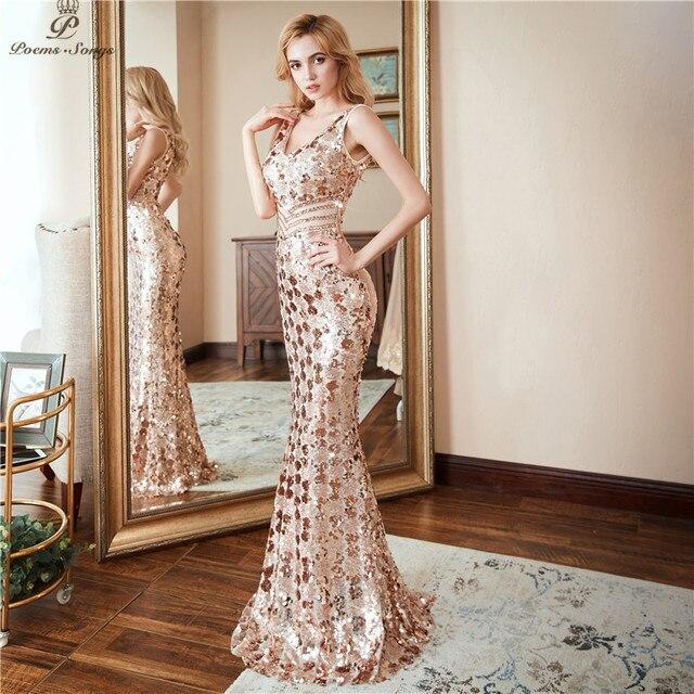 Poems songs Double V-neck Evening Dress vestido de festa Formal party dress Luxury Gold Long Sequin prom gowns reflective dress 3