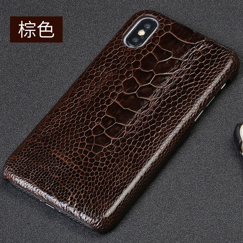 luxurious Cover For Apple iPhone X Xs Max XR Back Case Genuine Ostrich Foot Skin Leather