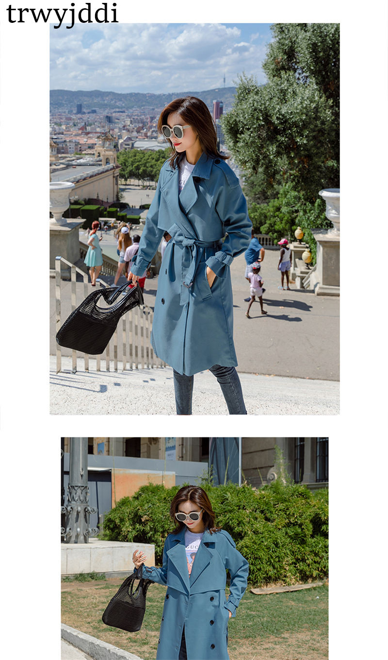 Fashion Windbreaker Coats Long section 19 New Spring Autumn Coat Women Trench Coats Korean Loose Casual Ladies Outerwear N402 6
