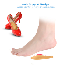 Soumit Leather Orthopedic Arch Supports Forefoot Insoles for Women Shoes High Heel Massage Cushion Half Yard Pads Shoe Liners