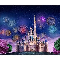 Kolorowe fajerwerki księżniczka zamek fotografia tło błękitne niebo gwiazdy różowy zielony drzewa dla dzieci Birthday Party zdjęcie tła