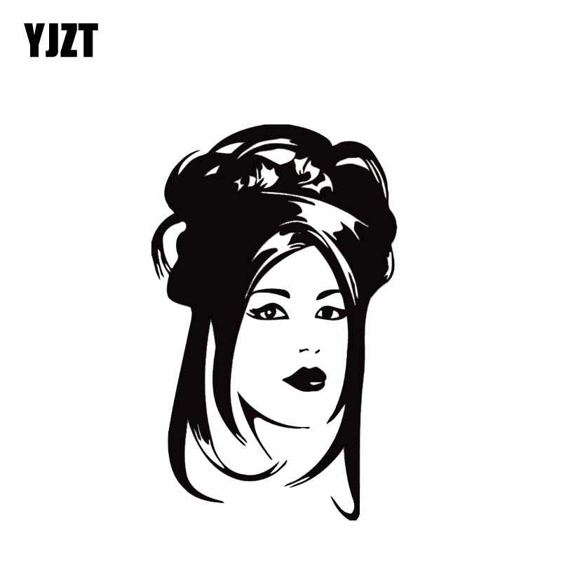 Yjzt 8 5 13 7cm Cute Asian Girl Face Car Sticker Vinyl Fashion Decal Black Silver Popular Style Silhouttte Design C20 1086