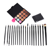 Pro 20Pcs Foundation Powder Blush Makeup Brushes 50Pcs Disposable Eyelash Brushes Mascara Wands 15 Colors Concealer