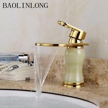 BAOLINLONG Brass Bowlder Bathroom Faucets Deck Mount Vanity Vessel Sinks Mixer Waterfall Faucet Tap