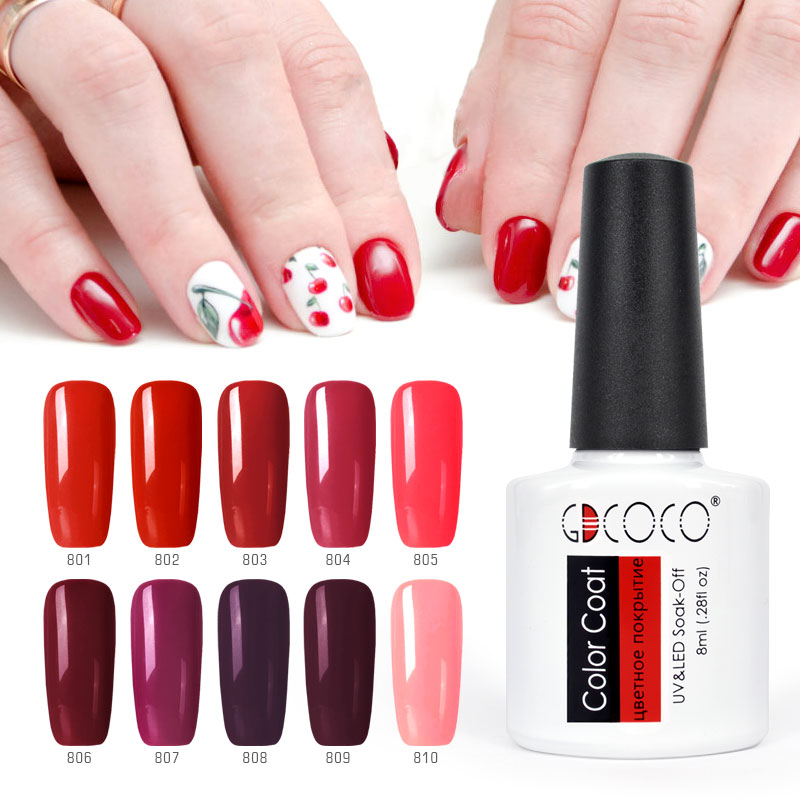 купить 10pcs*8ml Color Gel Kits GDCOCO Soak Off UV LED Nail Gel Polish Long Lasting Gel Lacquer Primer Base Coat NoWipe Top Reinforce онлайн