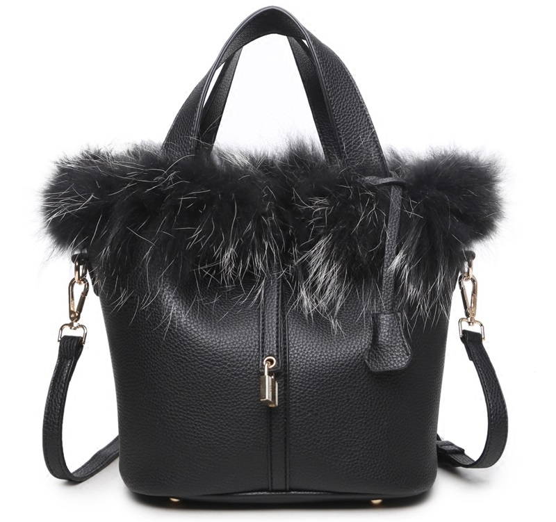 Luxury Rabbit Fur Decoration Women Handbag Female Fashion Designer Bucket Shoulder Bags PU Leather Lock Women'S Bag
