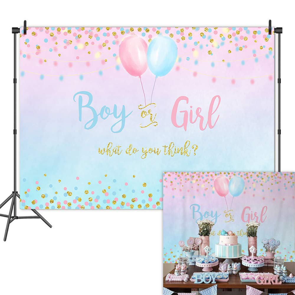 NeoBack <font><b>Boy</b></font> or Girl Gender Reveal <font><b>Backdrop</b></font> Blue Pink Dots Balloon Photography Background <font><b>Baby</b></font> <font><b>Shower</b></font> Party Banner <font><b>Backdrops</b></font> image