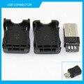 10 pcs micro usb 2.0 tipo de conector de solda tipo masculino jack plug-a usb 3 em 1 conector diy preto para od3.0mm v8 otg cabo