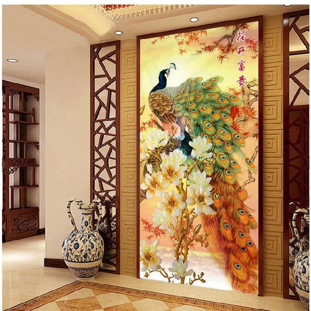 [Супер предложения] 120*65 см рукоделие, diy вышивки крестом, вышивка комплект, золотая фортуна мир птица печати pattern павлин crossstitch декор