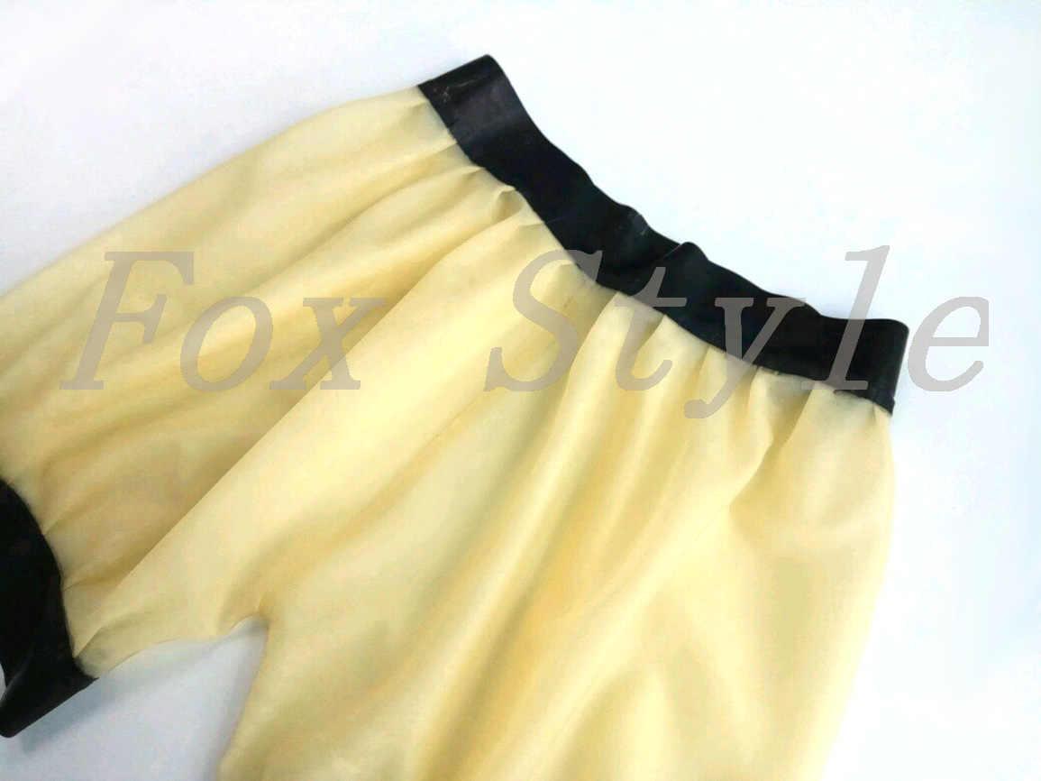 Ücretsiz kargo kauçuk lateks bloomers şeffaf pantolon seksi lateks kauçuk şort tilki tarzı