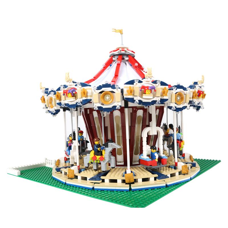 IN STOCK 15013 3263PCS 15036 2705 PCS 15036B with light City Street Carousel Model Building Kits Blocks lepin Toy DIY lepin 15013 city street carousel model building kits assembling blocks toy legoing 10196 educational merry go round gifts