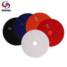 цена на RIJILEI 4 Pcs/lot 4 Steps 80/100mm dry polishing pad 3/4 inch Marble polishing pads WHITE diamond polishing pads for stone HF03