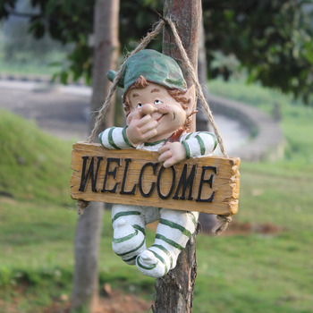Fairy Garden Dwarf Gnome Statue Figurines Lawn Yard WELCOME Wall Hanging Art Ornament Resin Crafts Bonsai Home Decorations R1988
