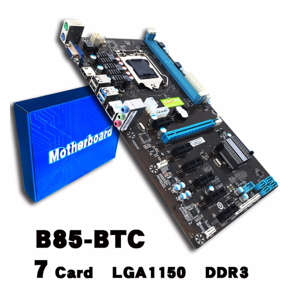 B85-BTC LGA 1150 Bitcoin Mining Motherboard PCI-E USB3.0 UB2.0 Directly Slots Mainboard For Intel DDR3 Memory Type asus p5kpl se desktop motherboard p31 socket lga for 775 core pentium celeron ddr2 4g atx uefi bios original used mainboard