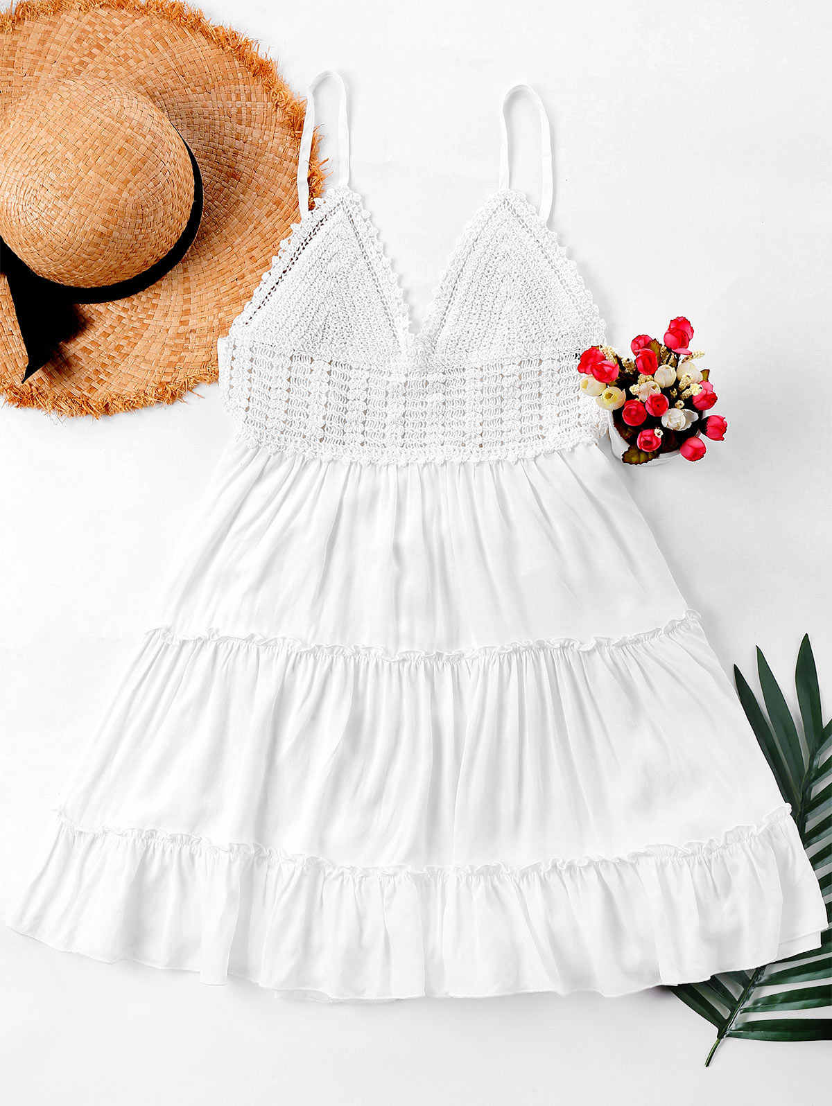 Zaful Crochet Panel Cami Flare Gaun