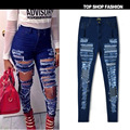 2016 Spring European and American popular personality beggar hole torn streets of paragraph waist Slim stretch jeans big yards