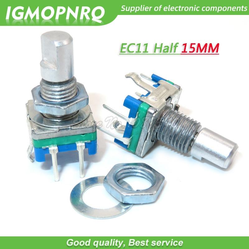 5 pièces EC11 15mm demi poignée codeur rotatif commutateur de codage potentiomètre numérique commutateur 5 broches bricolage IGMOPNRQ