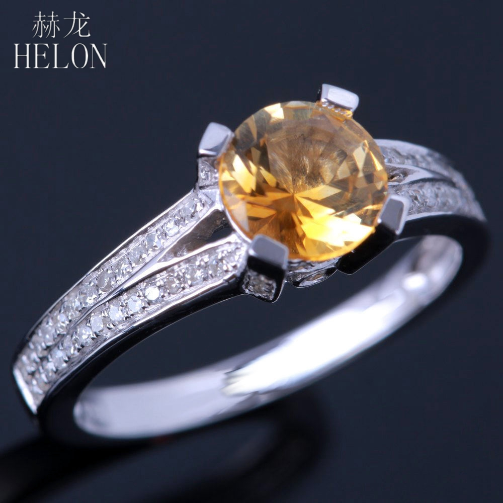 HELON Sterling Silver 925 Flawless 6.5mm Round Cut Real Citrine Natural Diamonds Gemstone Engagement Wedding Fine Jewelry Ring helon sterling silver 925 flawless 11x9mm emerald cut 4 36ct real blue topaz natural diamond engagment wedding ring fine jewelry
