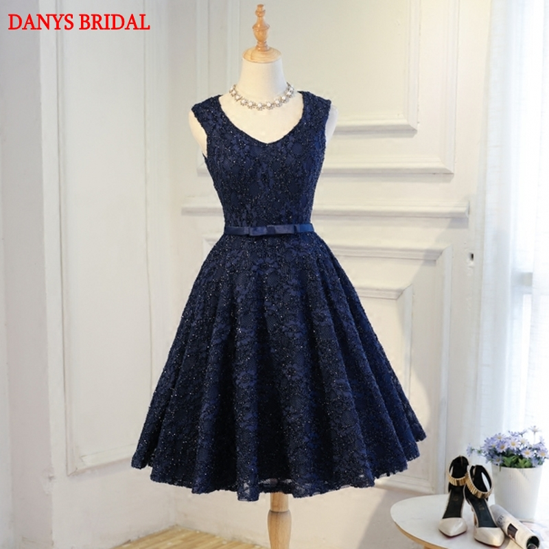 Navy Blue Short Lace   Cocktail     Dresses   Sexy Prom Party Coctail   Dress   Homecoming   Dresses   vestidos de coctel festa curto