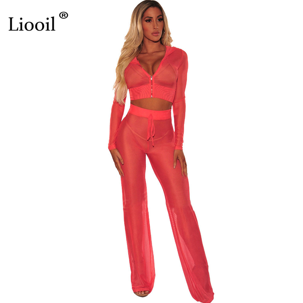 5ec117f1973 Liooil Sexy Club Mesh See Through Jumpsuit Women Long Sleeve and Pants  Zipper Black Red 2 Piece Lace Up Rompers Womens Jumpsuits-in Jumpsuits from  Women s ...