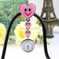 Pink Color Heart Shape Fob Pocket Watch Pin Brooch Cute Smile Face Nurse Quartz Clip-on Nurse Salesgirl Waitress Teacher