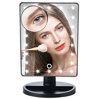 Touch Screen Makeup Mirror Vanity Mirror With 22 LED Lights 10X Magnifying Mirror With Suction Cups