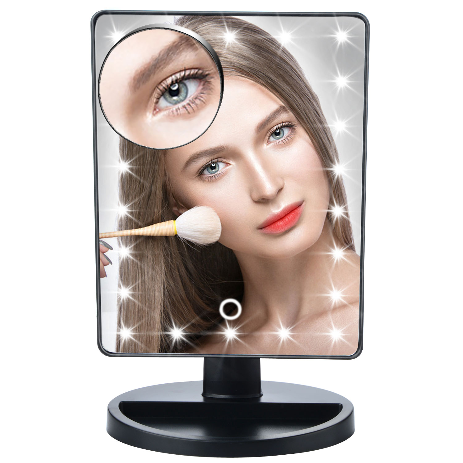 Touch Screen Makeup Mirror Vanity Mirror With 22 LED Lights 10X Magnifying Mirror With Suction Cups 180 Degree Rotation T38 декор lord vanity quinta mirabilia grigio 20x56