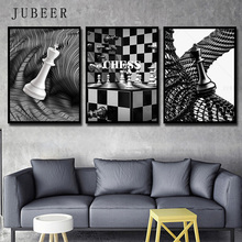 Chess Geometric Abstract Nordic Decorative Painting Black and White Poster Prints Bedroom Decoration Pictures Home Decor