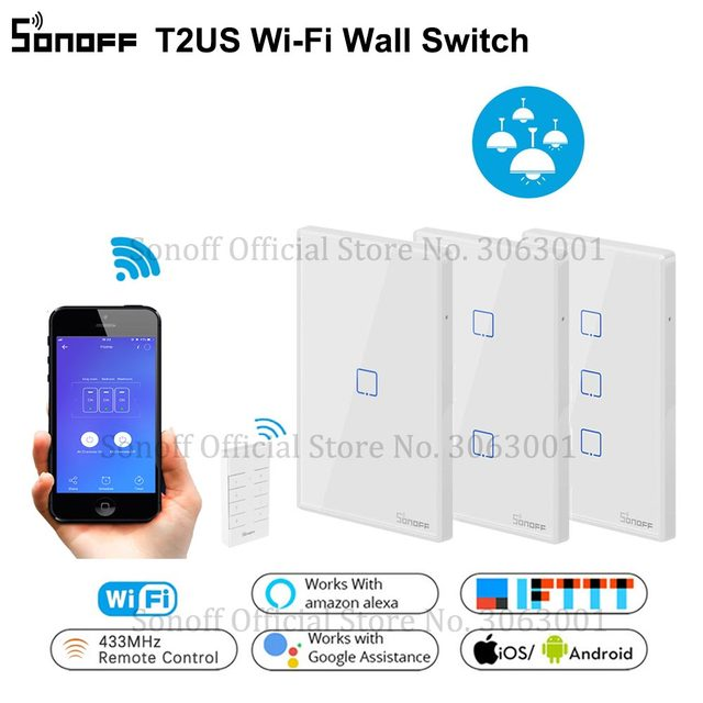 SONOFF T2US TX Smart Wifi Touch Wall Light Switch With Border Smart Home 1/2/3 Gang 433 RF/Voice/APP Control Works With Alexa