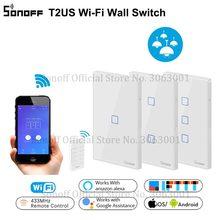 SONOFF T2US TX Smart Wifi interruptor de luz de pared táctil con borde Smart Home 1/2/3 Gang 433 RF/voz/Control de aplicación funciona con Alexa