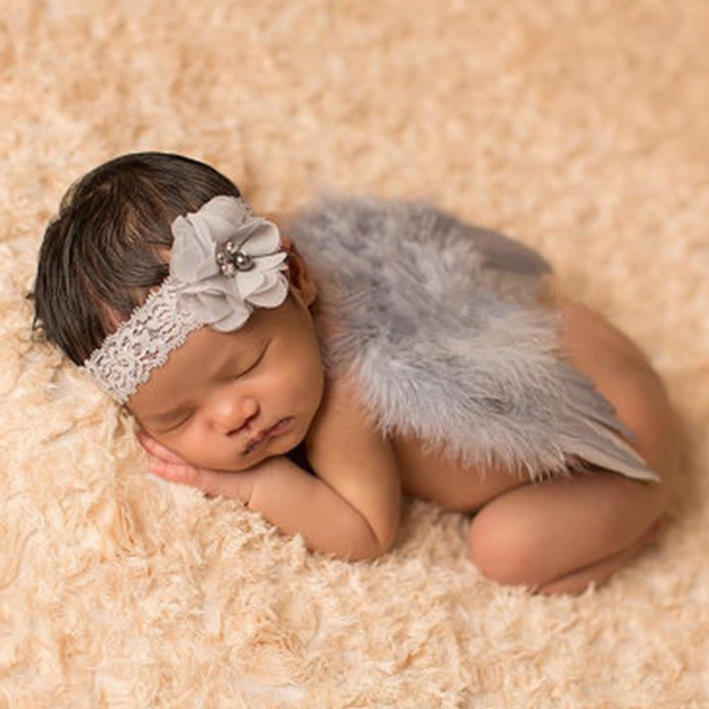 Cute New Born Photography Props Boys Girls White Angel Wings Baby Photography Feather Wings Girls Hair Accessories 0-12Months