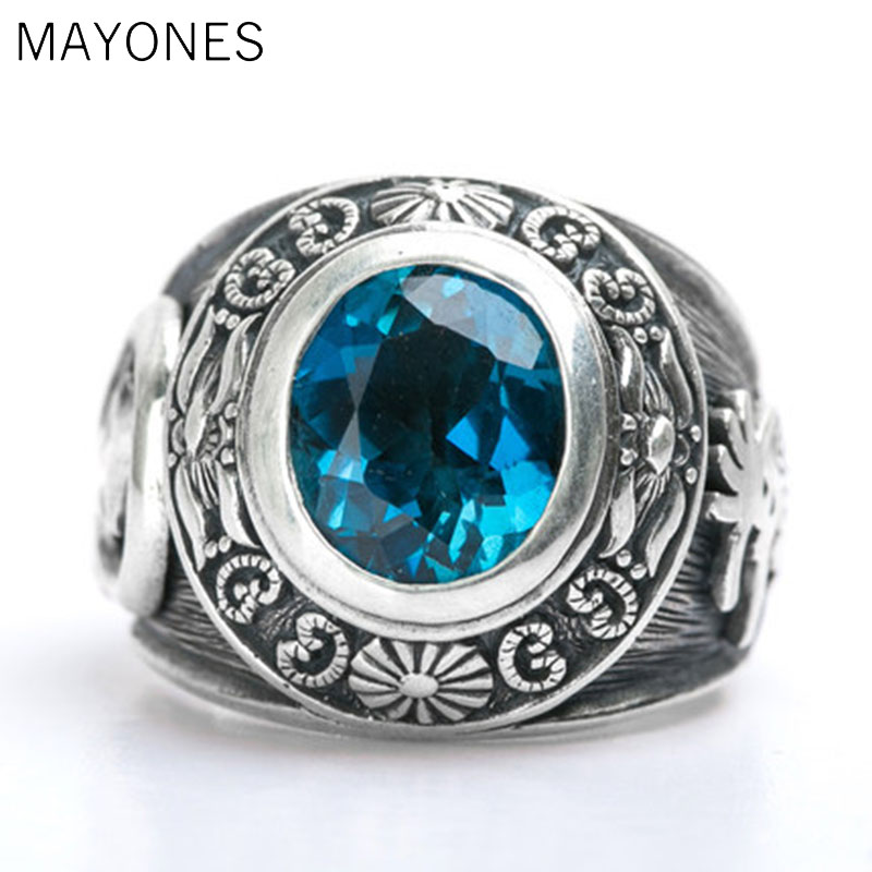 Vintage Real 925 Sterling Silver Totem Blue Crystal Ring Jewelry for Men Size 7.5 8 9 10 11 11.5 Free ShippingVintage Real 925 Sterling Silver Totem Blue Crystal Ring Jewelry for Men Size 7.5 8 9 10 11 11.5 Free Shipping
