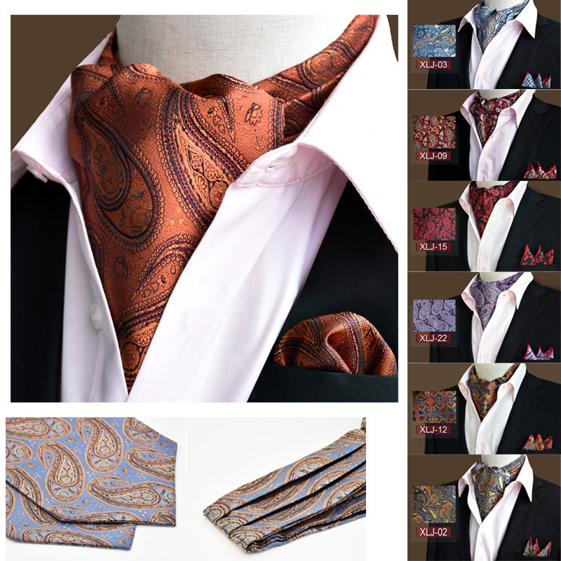 LJT01 20 Colors Men's Luxury Floral Paisley Silk Ascot Cravat Necktie Matching Hanky Pocket Square Suit Set For Wedding Party