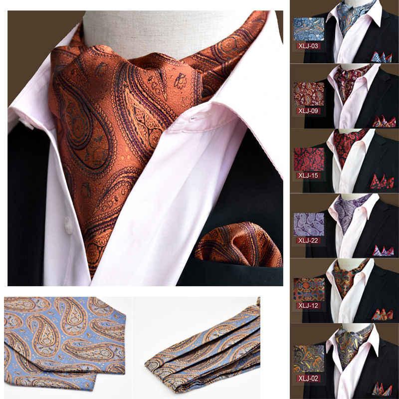 LJT01 20 renk erkek lüks çiçek desenli ipek Ascot Cravat kravat eşleşen Hanky cep kare takım elbise düğün için Set parti