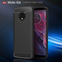 For Motorola G6 Case Plus Europe Version Silicon Brushed Carbon Fiber Soft Phone Back Cover Moto Coque Funda Etui