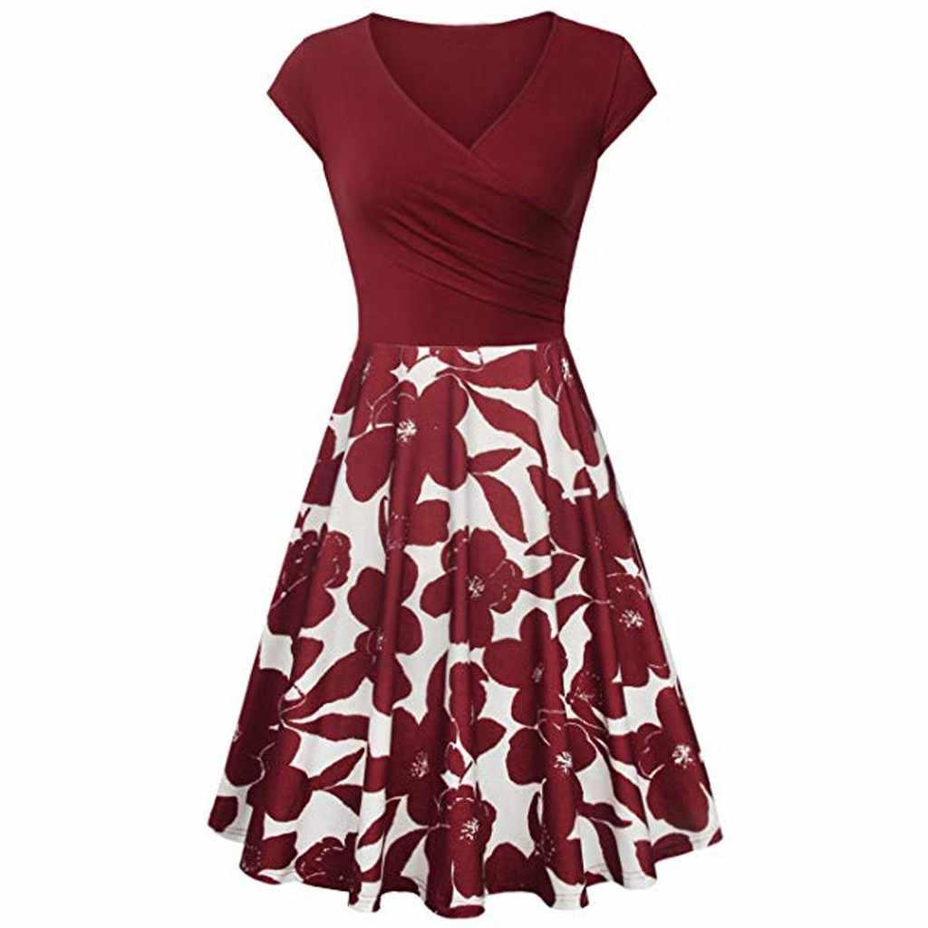 Летнее платье для женщин элегантный короткий рукав платья с перекрестными лямками Винтаж Элегантное расклешенное платье трапециевидной формы синие платья вечерние Ночное платье Новое Детское платье