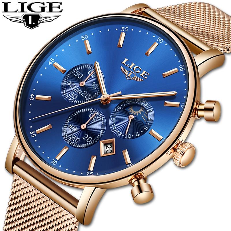 LIGE Women Fashion Gold Blue Quartz Watch Lady Mesh Watchband High Quality Casual Waterproof Wristwatch Moon Phase Clock Women-in Women's Watches from Watches