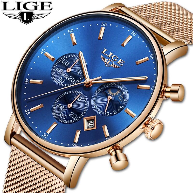 Lige moda feminina ouro azul relógio de quartzo senhora malha pulseira alta qualidade casual relógio de pulso à prova dwristwatch água fase da lua