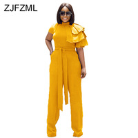 Cascading Ruffles Sexy Jumpsuits For Women High Necked Short Sleeve Wide Leg Romper Elegant High Waist Sashes Party Body Suits