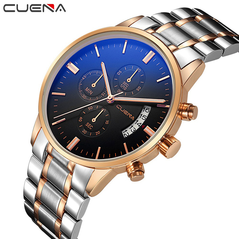 CUENA Fashion Male Clock Mens Watches Top Brand Luxury Stainless Steel Waterproof Quartz Wristwatches Relogio Masculino Relojes men fashion quartz watch mans full steel sports watches top brand luxury cuena relogio masculino wristwatches 6801g clock