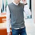 2016 мужчин новые продукты Осень высокое качество slim fit v-образным вырезом жилет свитера/Мужской досуг рукавов вязание свитера