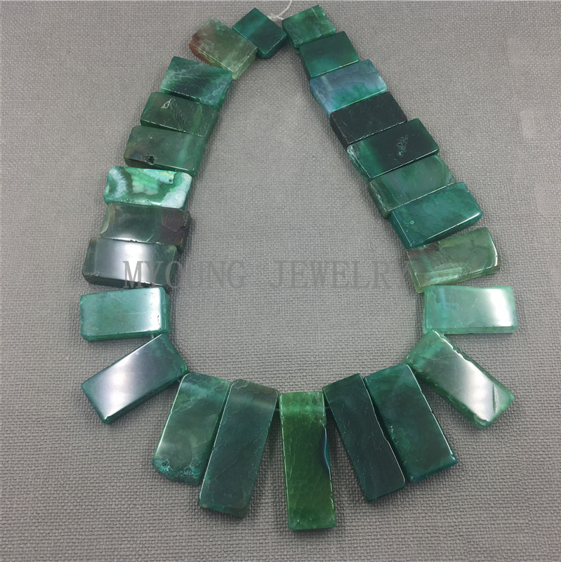 MY1261 Mix Size Top drilled Green Rectangle Dragon Veins Agates Slice Slab Beads For Pendant Necklace Jewelry Making
